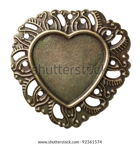 Heart shape vintage metal frame, isolated.