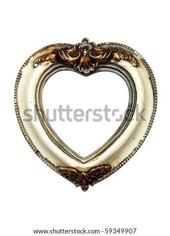 heart shaped baroque picture frame isolated on white