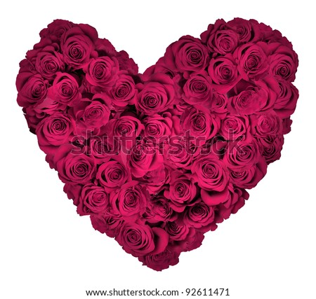 Heart shaped bouquet of hot pink roses isolated over white background