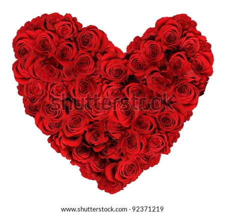 stock photo : Heart shaped bouquet of red roses isolated over white background