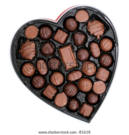 Heart shaped box of dark and light assorted chocolates. Perfect for Valentine\'s Day.