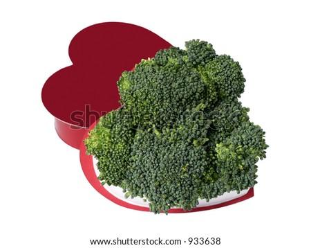 Heart-shaped box with broccoli