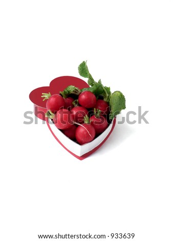 Heart-shaped box with radishes