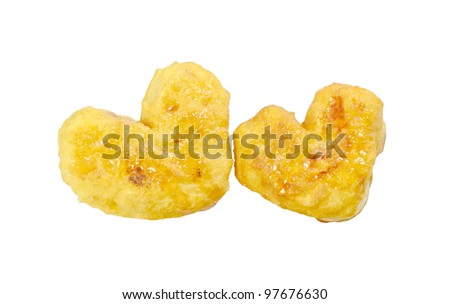 heart shaped buns isolated on white background