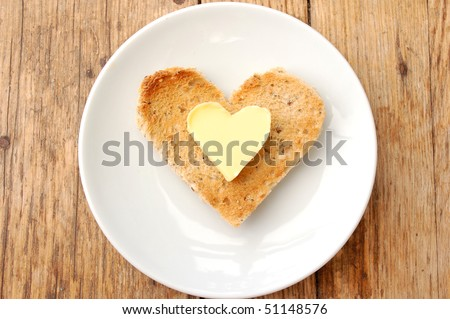 Heart shaped butter and toast