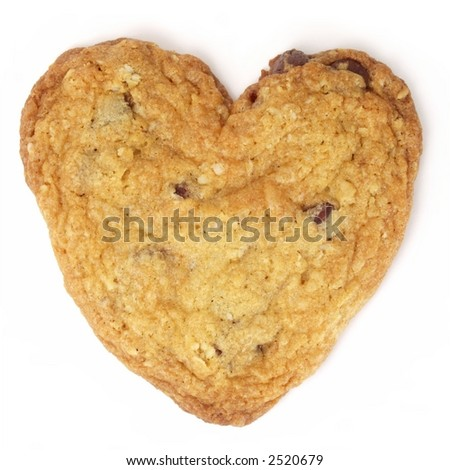 Heart-shaped chocolate chip cookie isolated on white background.