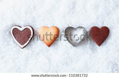 Heart shaped christmas cookies in a row
