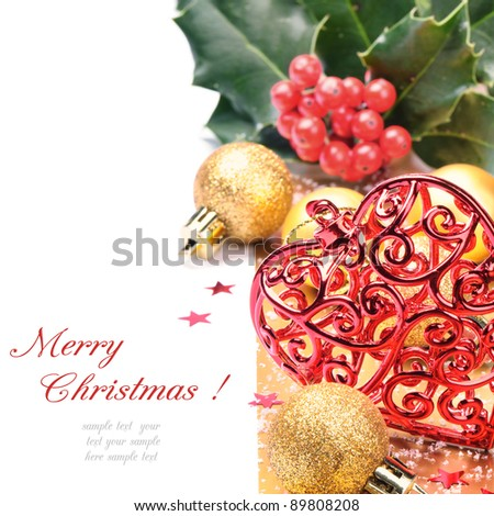 Heart shaped Christmas decoration over white