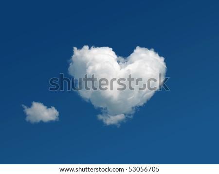 heart shaped cloud in the blue sky