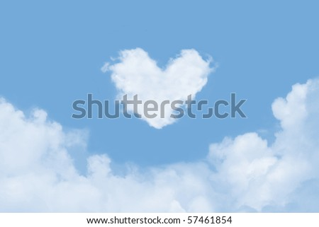 Heart shaped cloud in the sky - stock photo
