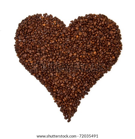 Heart shaped coffee beans isolated on white background