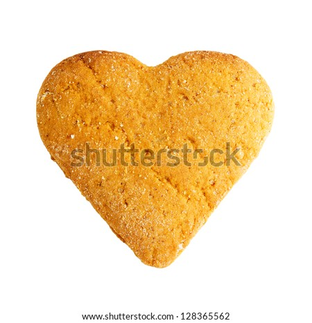 heart shaped cookie isolated on white