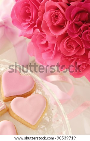 Heart shaped cookies and roses bouquet  for valentine's day