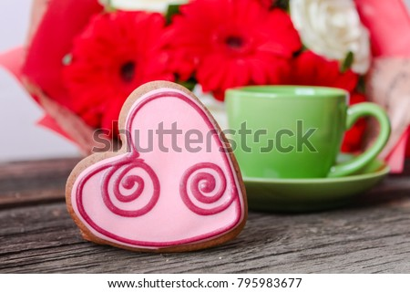 Heart shaped cookies baked on valentines day and a cup of coffee  #795983677