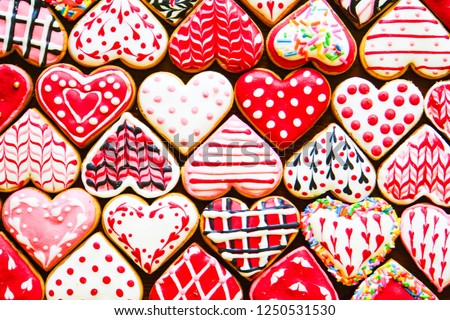 Heart shaped cookies icing for Valentine's day delicious homemade natural pastry, baking with love for Valentine's day, love concept #1250531530