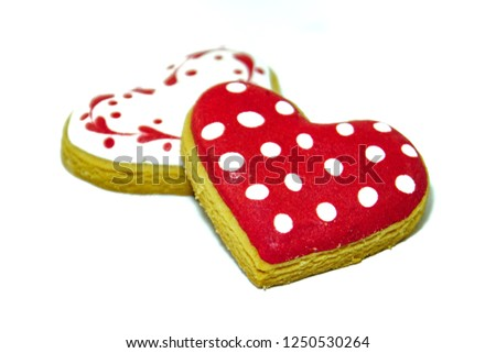 Heart shaped cookies icing on white background for Valentine's day delicious homemade natural pastry, baking with love for Valentine's day, love concept #1250530264