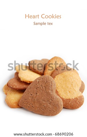 Heart shaped cookies isolated on white background