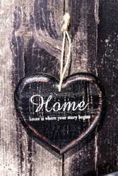 Heart shaped  decor sign desk Home country style on dark wooden rustic vintage textured  background. valentines day card concept