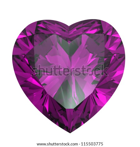 Heart shaped Diamond isolated on a white background. amethyst