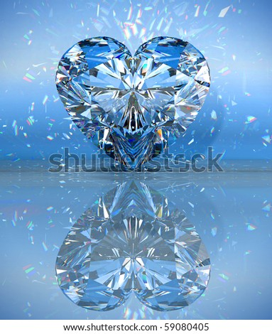 Heart shaped diamond over blue with reflection. Extralarge resolution. Other gems are in my portfolio.