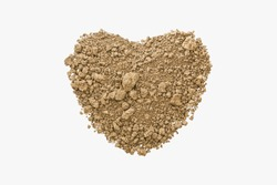 Heart shaped dry soil on isolated white background ,love sign concept of natural