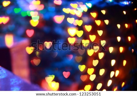 Heart shaped Festive lights. Can be used as background