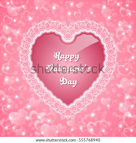 Heart shaped frame with lace border valentines day greeting card heart shaped frame with lace border valentines day greeting card illustration m4hsunfo