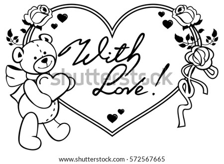 Heart-shaped frame with outline roses, teddy bear holding heart ...