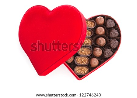 Heart shaped gift box having chocolates #122746240