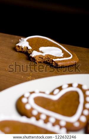 Heart shaped gingerbread cookie