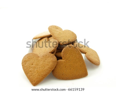 Heart shaped gingerbread, white background
