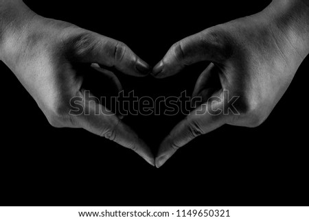 Heart Shaped Hands Close up isolated, Black and white, Concept of love and care #1149650321