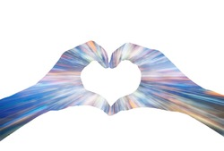 Heart-shaped hands on the background of the warp image.