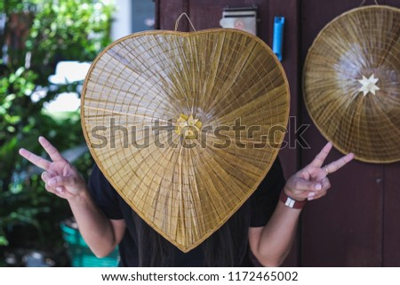 Heart shaped hat made from bamboo or palm leaf #1172465002