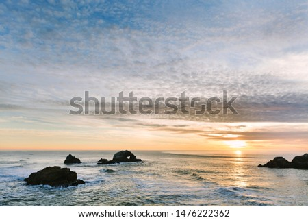 Heart shaped hole in rocks off of the Sutro Baths / Land's End area of San Francisco coastline #1476222362