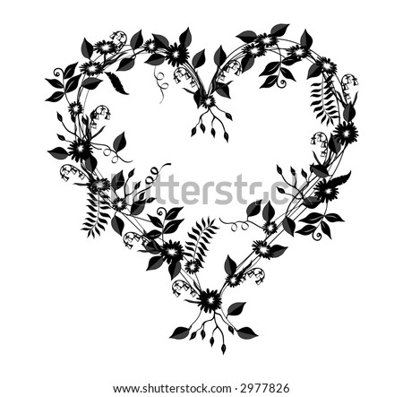 stock photo : Heart shaped illustration with flowers, vines and leaves in