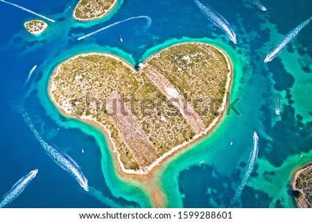Heart shaped island of Galesnjak in Zadar archipelago aerial view, Dalmatia region of Croatia Сток-фото ©