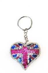 Heart shaped key chain  isolated on white. gift for Valentine's Day