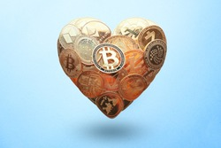 Heart shaped made with cryptocurrency coins. Happy Valentine's day symbol. Love bitcoin concept. Invest in bitcoin symbol. Donation, volunteer charity, CSR social responsibility idea.