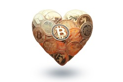 Heart shaped made with cryptocurrency coins. Happy Valentine's day symbol. Love bitcoin concept. Invest in bitcoin symbol. Donation, volunteer charity. Isolated in white