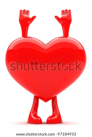 Heart shaped mascot with its hands up represending surrender of love