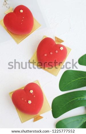Heart shaped mousse cake #1225777552