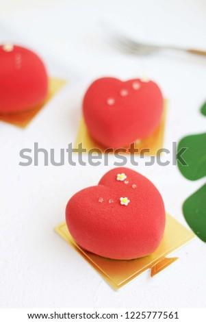 Heart shaped mousse cake #1225777561