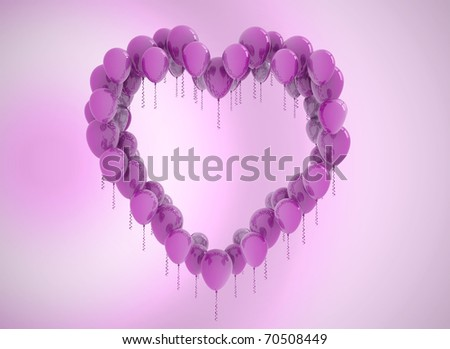 Heart shaped of balloons background