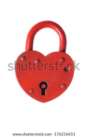 Heart shaped padlock isolated on white.