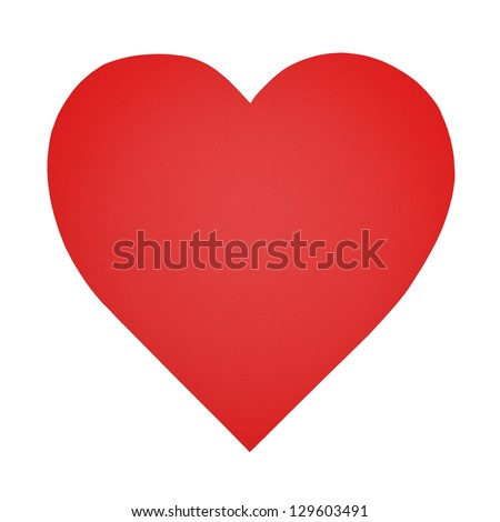 Heart shaped paper isolated on white