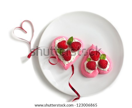 Heart Shaped Pavlova with Raspberries - Valentine's dessert