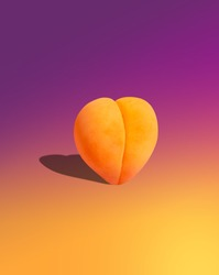 Heart shaped peach on a yellow-pink gradient background for Instagram stories