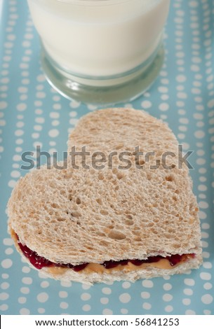 Heart Shaped Peanut Butter And Jelly Sandwich Stock Photo 56841253 ...