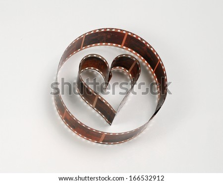 Heart shaped photo film, concept of love for photography